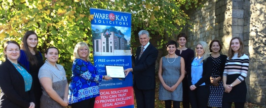 Ware & Kay presented with Gold Award by Cancer Research UK